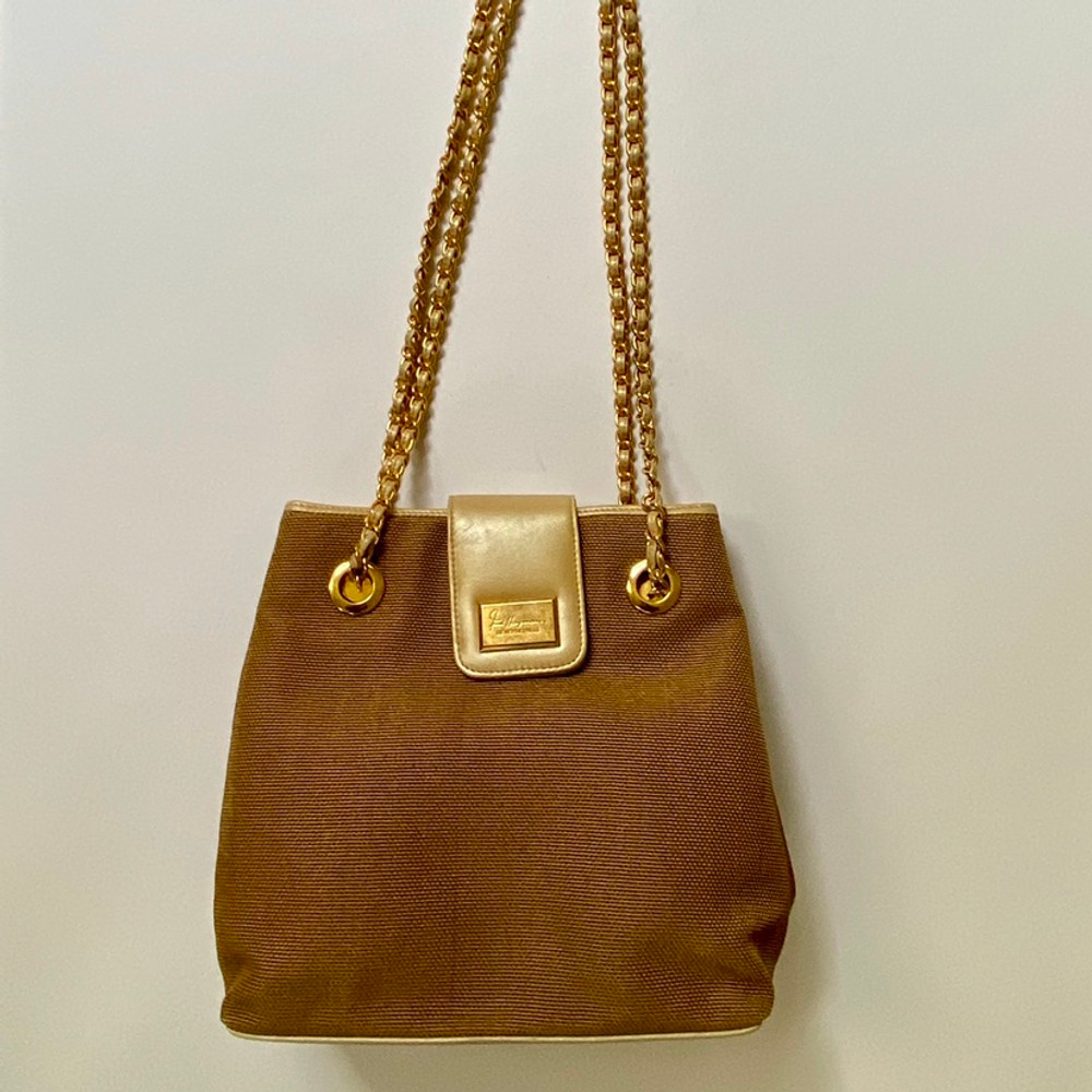 Fred Hayman Natural Bucket Bag with Chain Strap