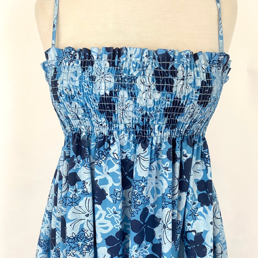 Vintage Lilly Pulitzer Blue Floral Smocked Maxi Dress