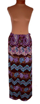 Mr. Dino Purple and Blue Jersey Floral Maxi Skirt