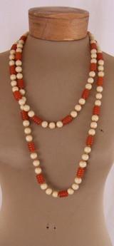 Burnt Orange & Beige Long String of Beads