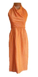 Vintage 1970s Geoffrey Beene Orange Lurex Halter Dress with Matching Jacket