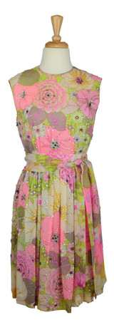 Vintage 1960s Pastel Floral Sequined Shift Dress