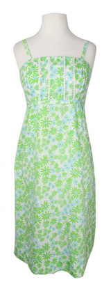 Vintage Lilly Pulitzer 1970s Green Floral Dress