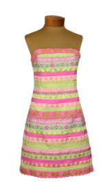 Lilly Pulitzer Pink & Green Striped Ribbon Strapless Dress