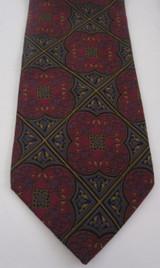 Bill Blass pink, blue gold geometric floral tie
