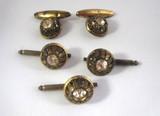 Gold & Rhinestone Cufflink & Stud Set