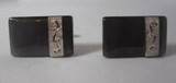 Vintage Black/Gray Marbleized Rectangle Cufflink with Silver Accent