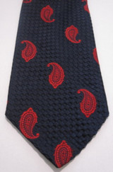 Vintage Navy Blue Woven Tie with Red Paisleys