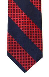 Vintage Pierre Cardin Wide Navy & Red Jacquard Tie