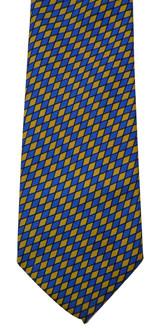 Turnbull & Asser Blue & Yellow Silk Grid Tie