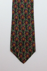 Liberty of London Green & Purple Geometric Floral Print Tie