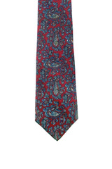 Vintage Christian Dior Red, Gray & Blue Paisley Tie