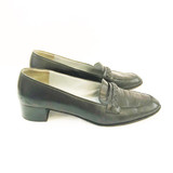 Salvatore Ferragamo black leather loafers with braided brow