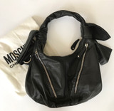 Moschino Black Leather Biker Bag