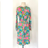 Vintage Lilly Pulitzer Smocked Floral 1970s Dress