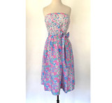Vintage Lilly Pulitzer Pink & Blue Strapless Dress