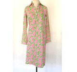 Vintage Lilly Pulitzer Pink & Green Floral Shirt Dress
