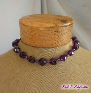 Purple cut quartz necklace