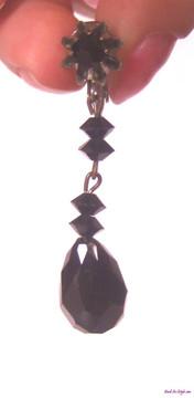 Black cut crystal dangle earrings