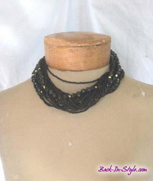 Black & gold multi strand beaded necklace