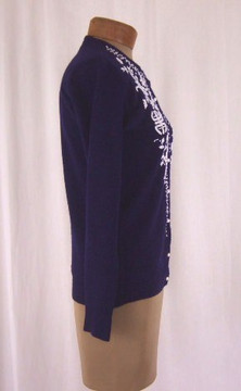 Vintage Navy Cardigan Sweater with White Beading