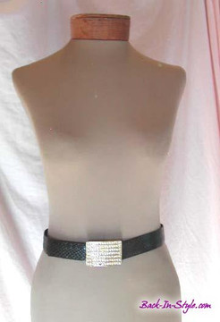 Black Snakeskin Belt with Gold Rhinestone Buckle