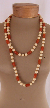 Burnt Orange & Beige Long String of Beads