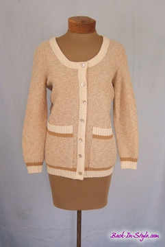 Goldworm Tan & White Boyfriend Cardigan Sweater