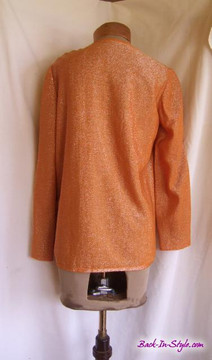 Vintage 1970s Geoffrey Beene Orange Lurex Halter Dress with Matching Jacket