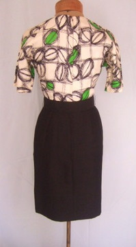 1960s Pierre Cardin Vintage Black and Green Silk Dress with Belt