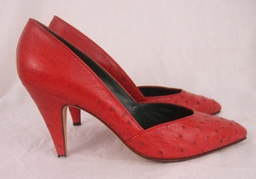 Gucci Red Ostrich Leather Pumps