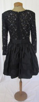 Lillie Rubin Black Lace & Rhinestone Dress with Polka Dot Skirt