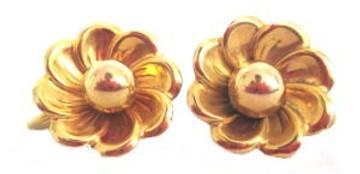 Vintage 1930s Small Gold Flower Earrings