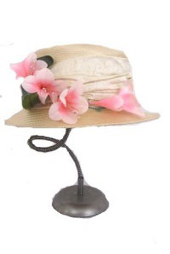 Vintage Deborah Rhodes Straw Hat with Silk Ribbon and Flowers