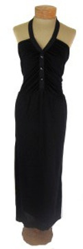 Chloe Black Silk Jersey Maxi Halter Dress