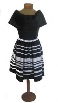 Vintage Albert Nipon 1980s Black and White Striped Cocktail Dress