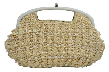 Vintage Woven Straw Beaded Clutch