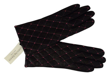 Carolina Amato Black Leather Gloves New!