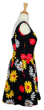 Scaasi Vintage 1980s Cotton Floral Pique Dress