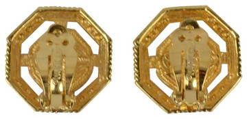 St. John Gold-Tone Edged Out Ear Clips