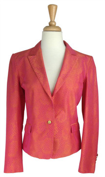 Versace Hot Pink & Orange Snake Skin Print Jacket