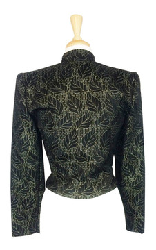 Vintage 1980s Mary McFadden Black & Gold Brocade Evening Jacket
