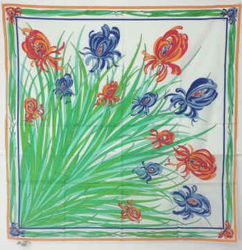 Vintage Emilio Pucci Red, Blue & Green Cotton Iris Scarf