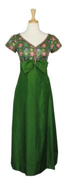 Vintage 1960s Green Floral Brocade Jacquard Evening Dress