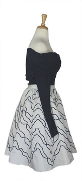 Vintage 1980s Victor Costa Navy Blue & White Cocktail Dress