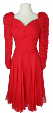 Vintage Scaasi 1980s Red Ruched Chiffon Cocktail Dress