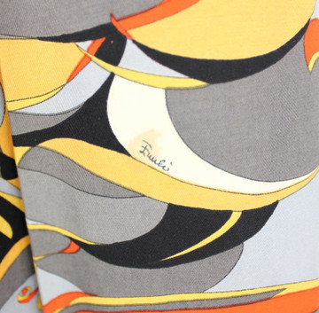 Emilio Pucci Orange & Gray Abstract Cotton Skirt  1