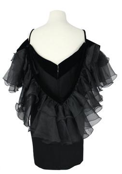 Vintage Bob Mackie 1980s Black Evening Ruffled Shoulders Dress