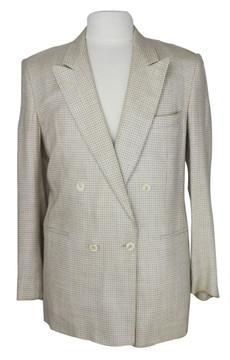 Egon Von Furstenberg beige & white check double breasted jacket