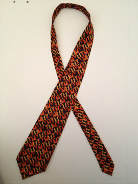 Emilio Pucci Orange & Brown Geometric Silk Tie